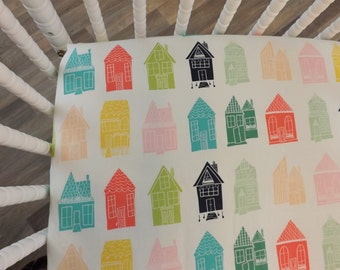 Crib Sheet- Baby Sheet- READY TO SHIP--Happy Home Block Festival Crib Sheet- Fitted Crib Sheet- Neutral Crib Sheet
