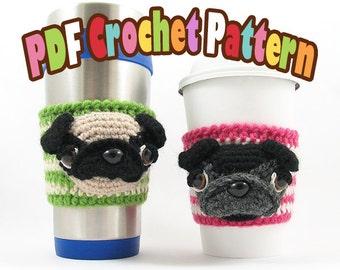 PDF Amigurumi / Crochet Pattern Coffee Cup Cozy/Sleeve - Pug CP-15-3279