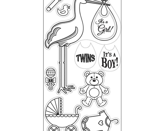New! Sizzix Interchangeable Clear Stamps - Stork Announcements by Jen Long