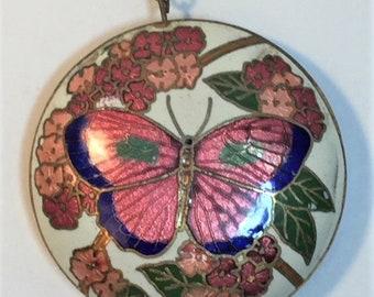 Cloisonne Butterfly Pendant Necklace