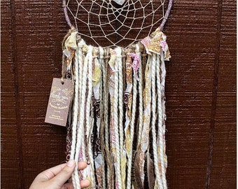 Boho Feather Dream Catcher with Clear Quartz Crystal - Cotton Yarn - Hippie Wall Hanging