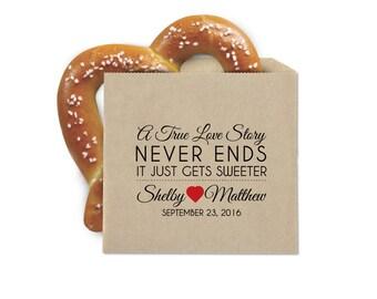 Boda Favor Cookie bolsas - Pretzel Favor - una historia de amor verdadero - doble apertura bolsas Favor de Kraft resistente a la grasa