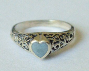 Vintage Sterling Silver Turquoise Scroll Heart Size 6