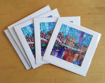 Market Place, Wells by Amy Yates, 5 Handmade Greetings Cards