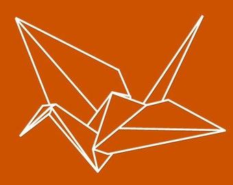 Origami Crane Vinyl Wall Decal -  one crane