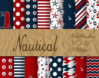 SALE - Nautical Digital Paper - Red and Navy Blue Backgrounds and Designs - 16 Designs - 12in x 12in - Commercial Use - INSTANT DOWNLOAD