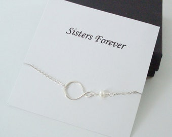 Eternity Infinity Charm with White Pearl Silver Necklace ~~Personalized Jewelry Card for Bridal Party, Sister, Best Friend, Sister in Law