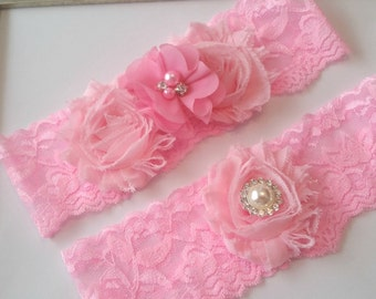 Bridal Garter Set, Pink Stretch Lace Garter, Keepsake Garter, Toss Garter, Pink Wedding Garter Set,  Pink Bridal Garter