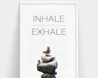 Inhale Exhale Print, Yoga Stones Wall Art, Zen Print, Breathe Print, Pilates Poster, Minimalist Art, Inhale Exhale Poster, Relaxation Gifts