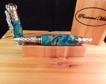 Dragon Rollerball Pen with Turquoise Dyed Buckeye Burl #RB3110