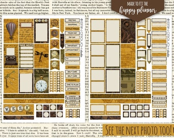 Steampunk Steam Punk Planner Stickers MAMBI Happy Planner Printable Stickers Instant Download FOUR Matching JPEG Files