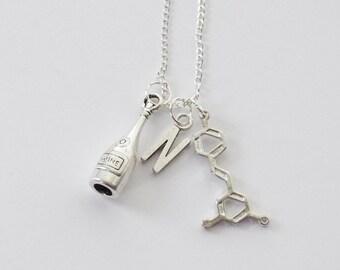Wine Bottle Necklace, Resveratrol Molecule Necklace, Wine Necklace, Resveratrol Necklace, Resveratrol Gifts, Wine Molecule Necklace