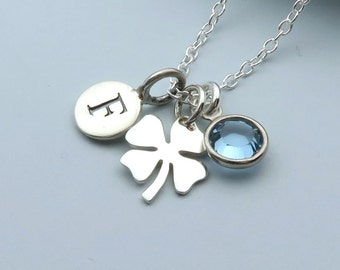 Sterling Silver Clover Necklace With Message Card, Personalized Clover, Four Leaf Clover, Good Luck Charm, Lucky Clover, Shamrock