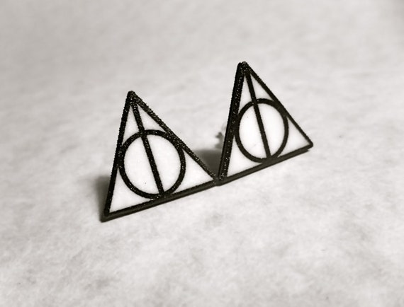 Deathly Hallows Triangle Circle Symbol Stud Post Earrings