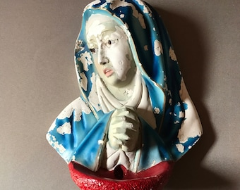 Vintage Virgin Mary, Madonna Plaque Religious Wall Art