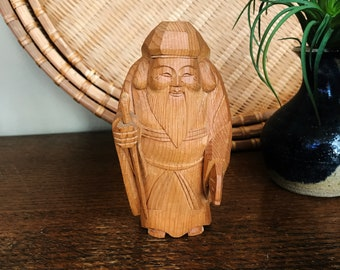 Vintage Hand Carved Chinese Figurine, Confucius, Asian Man, Asian Figure, Bearded Man Statue, Chinese Wood Carving, Boho Chic, Asian Decor