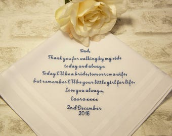 Embroidered Handkerchief, Father of the Bride Personalised Embroidered Wedding Handkerchief, Wedding Hanky, Thank you for walking by my side