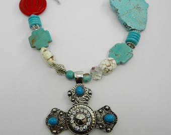 Western Necklace Turquoise Magnesite Western Cross Necklace Southwestern Jewelry Cowgirl  Statement Necklace