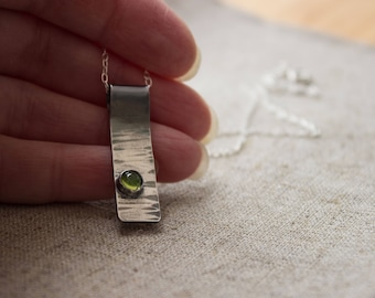 Sterling Silver Oxidised Bark Pattern Rectangle Pendant With Peridot Stone, Gift For Her, August Birthday Gift,
