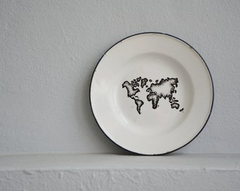 Black and White World Map, Hand Painted World Map, Wall Decor, Travel Decor, Repurposed Aluminum Plate