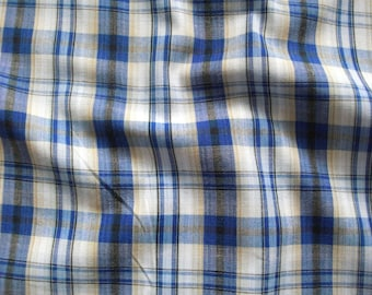 Cotton fabric checkered V2208 in white-blue-blue-pale yellow