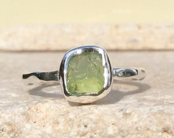 Raw Peridot Silver Ring, US 8.5, Raw Stone Ring, Peridot Ring, Rough Gemstone Ring, Natural Gemstone Silver Ring, August Birthstone Ring