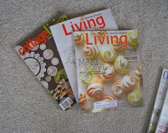 Lot of 3 RANDOM assorted magazines:  Martha Stewart Living, Cottage Living, Coastal Living, Southern Living