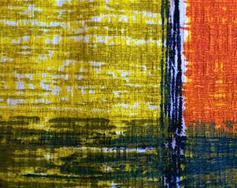 Vintage mid century Barkcloth fabric Geometric Abstract // cushion fabric // Last piece