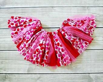 Valentine's Day skirt, handmade fabric tutu, fabric tutu skirt, Valentine's Day tutu, toddler tutu, birthday tutu, first birthday
