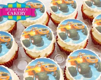 Racing truck edible image cupcake Toppers-1 Dozen