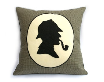 Classic Sherlock Holmes Victorian Style Shadow Silhouette Houndstooth Throw Pillow Cover 18 inch