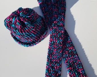 Girls/Ladies loom knitted hat and scarf set