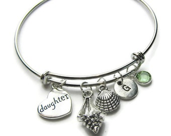 Beach Theme Bangle Bracelet, Daughter Bangle, Daughter Bracelet, Beach Bracelet, Shell Bracelet, Daughter Beach Bracelet, Personalized