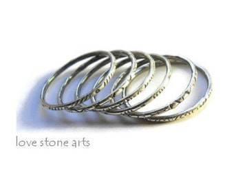 Sterling Silver Stacking Rings, Set of Six Thin Minimalist Rings, Detailed Textures with Antique Patina R166