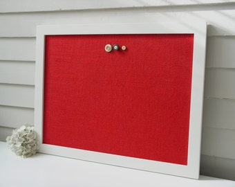 Modern Magnetic Burlap Bulletin Board 20.5 x 26.5 inches with Handmade White Wood Frame - Red Magnet Board - Fabric Covered Memo Board