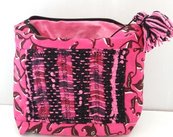 Hand woven, printed cotton and dyed fabric pouch