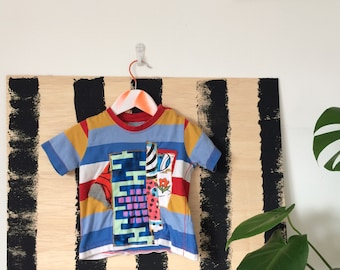 COVER 3-6 Months Kids Childrens T Shirt Upcycled in cotton Patch Work Cover Unisex
