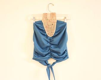 70s Crochet Halter top HIPPIE Boho Backless Beaded Summer top s/m