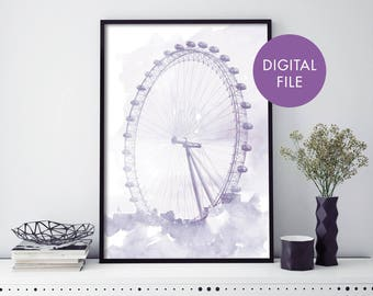 London Eye Watercolour Print Wall Art   Print At Home   Digital Download File