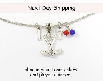 Field Hockey Necklace, Field Hockey Gift, Field Hockey Jewelry, Jersey Number, Team Colors, Personalized Field Hockey Charm Team Gift