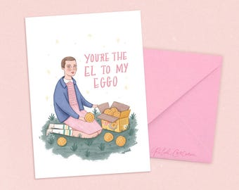 Stranger Things Eleven Card x Rachel Corcoran - El - Anniversary, Love, Romantic, Best Friends, Valentines Day Greeting Card, Illustration