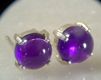 Amethyst Cabochon Earrings