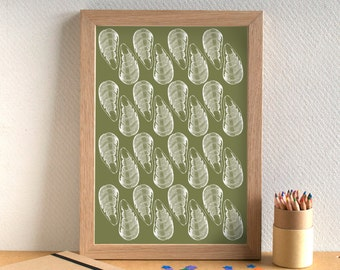Fish Print - Mussels Print - Kitchen Art - Kitchen Print - Food Art - Food Print - Mussels Art - Fish Art - Gift for Foodie - Gift for Chef