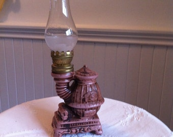 Vintage Oil Lamp   Ceramic Pot Belly Stove Lamp   Glass Chimney Partially  Frosted   Perfect