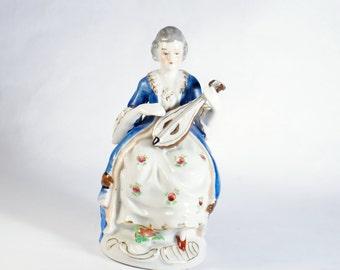 Occupied Japan Lady Figurine Vintage Made Porcelain Victorian Figurines Woman