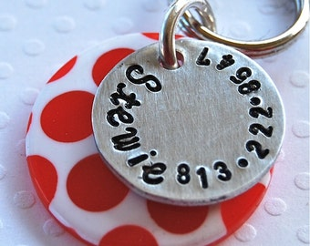 Custom Pet id tag / Red and White Polka Dot 1 inch
