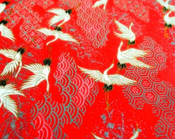 Handmade origami paper - Cranes on red II