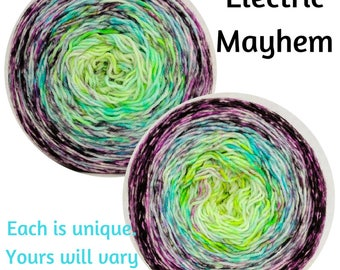 Electric Mayhem Impressionist Gradient, dyed to order - pick your yarn and yardage!