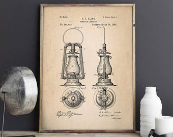 Tubular Oil Lantern, Lantern Patent, Lantern Blueprint, Lantern Decor, Cottage House Decor, Patent Poster - DA0775