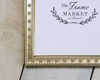 Florets Silver 7/8'' Wood Picture Frame with White Mat 8x10, 9x12, 11x14, 14x16, 16x20 Custom Standard and custom sizes available.